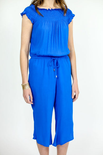 Jack Off The Shoulder Blue Jumpsuit