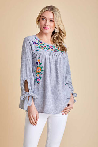 Jodifl Long Sleeve Embroidered Top