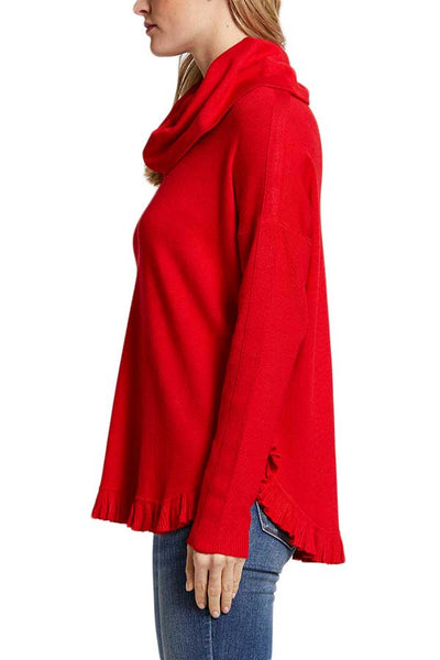 Joseph A Poncho Ruffle Hem Sweater (available in oatmeal and red)