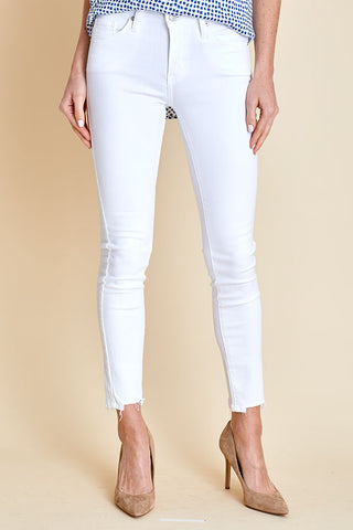 Just Black White Skinny Frayed Hem Jeans