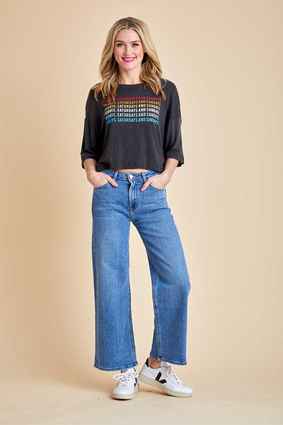 Just Black Wide Leg Cropped Jeans