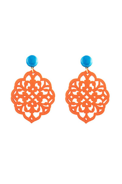 Katie Bartels Rima Wood Cutout Statement Earrings