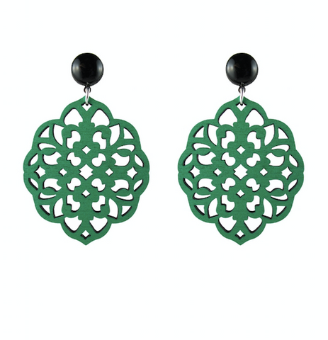 Katie Bartels Emerald Rima Wood Cutout Statement Earrings