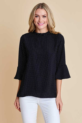 Les Amis Black Pindot Polka Dot Top