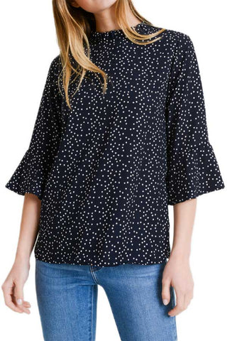 Les Amis Navy Polka Dot Top