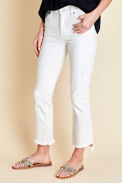 Level 99 Cream Crop Kick Flare Jeans