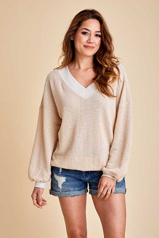 Listicle Vneck Thermal Top
