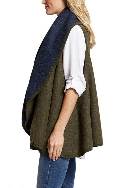 Look By M Reversible Shawl Wrap (available in Olive/Navy & Camel/Ivory & Black/Charcoal)
