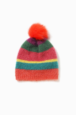 Load image into Gallery viewer, Look by M Multi Stripe Pom Pom Hat