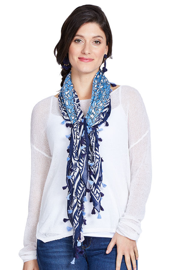 Look by M Blue Printed Tassel Scarf