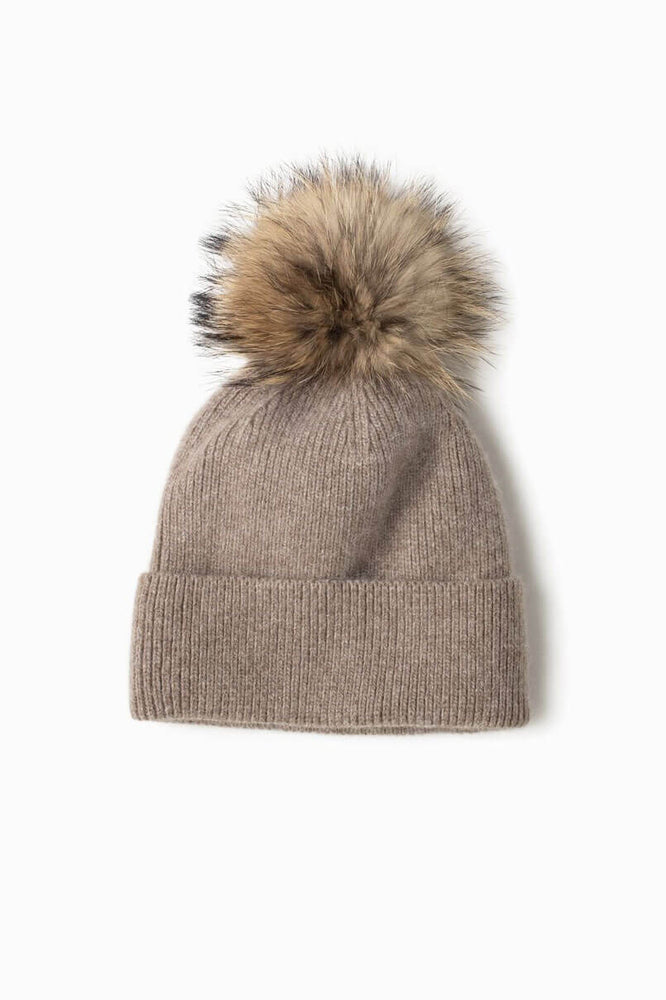 Look By M Cashmere Blended Ribbed Knit Beanie