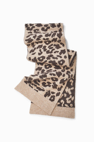 Look by M Leopard Reversible Knit Scarf