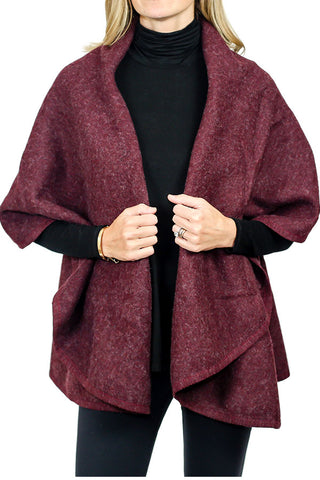 Look by M Solid Wrap Cape (Available in 2 colors: Ivory and Heathered Black)