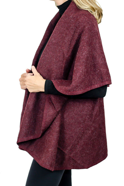 Look by M Solid Wrap Cape (Available in 2 colors: Wine and Heathered Black)