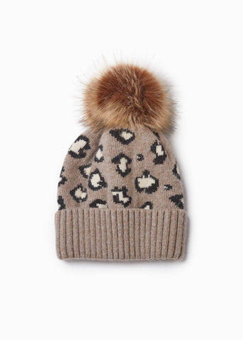 Look by M Leopard Pattern Cashmere Blend Hat