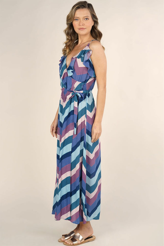 Love Stitch Chevron Stripe Wrap Maxi Dress