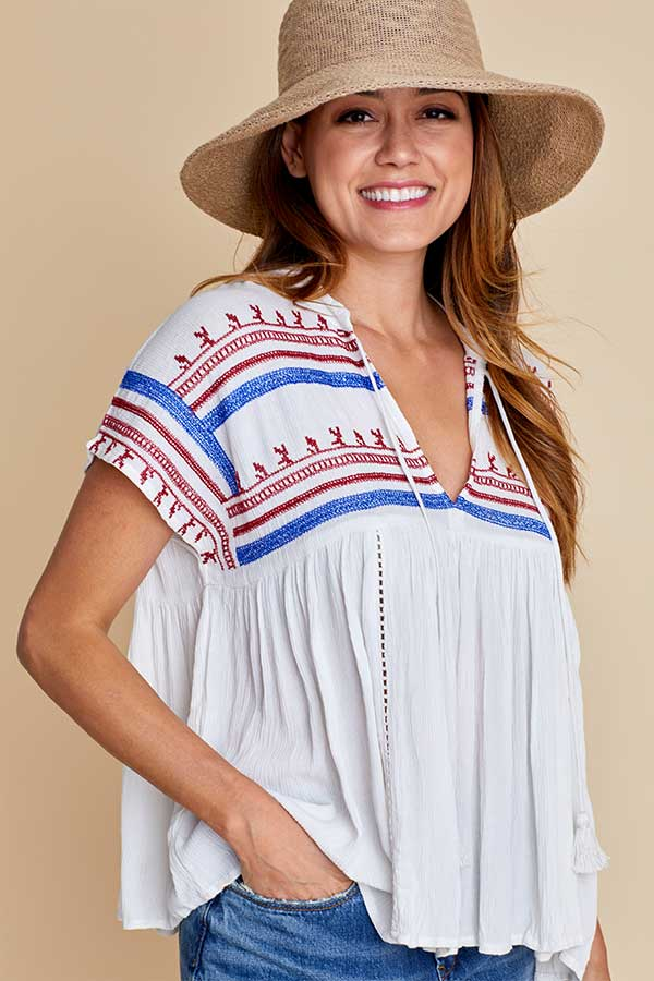 Love Stitch Gauze Embroidered Top