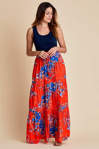 Love Stitch Floral Maxi Skirt
