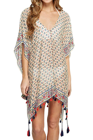 Love Stitch Scarf Printed Tassel Coverup