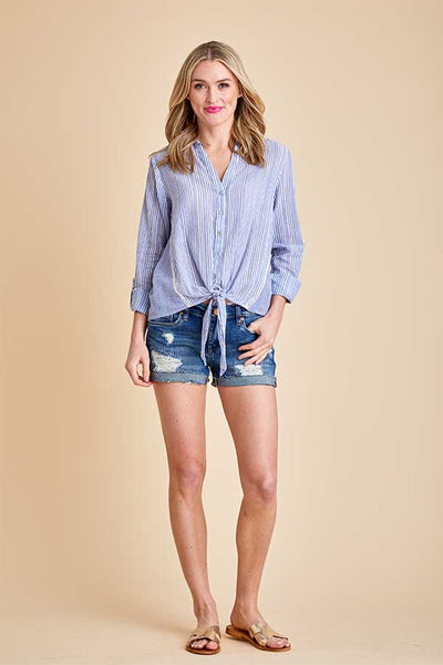 Love Stitch Tie Front Button Down Shirt