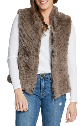 Love Token Zipper Faux Fur Vest