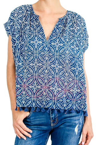 Love Stitch Capsleeve Bandana Printed Top