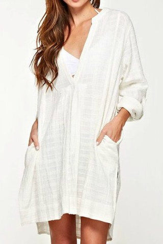 Love Stitch Cotton Gauze Tunic Cover-up