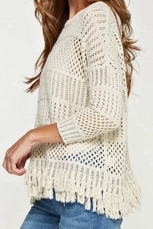 Love Stitch Crochet Fringe Trim Sweater
