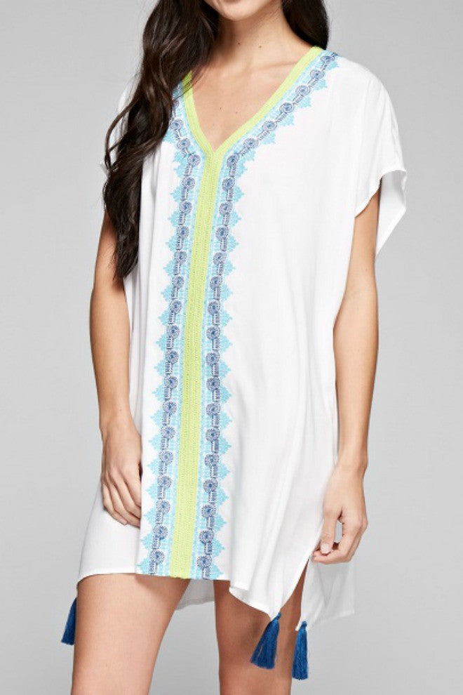 Love Stitch Vneck Embroidered Tunic Coverup