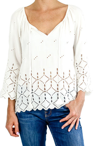 Love Stitch Eyelet 3/4 Sleeve White Top