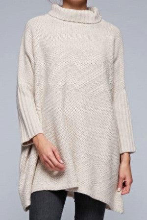 Love Stitch Multi-Stitch Oversized Ribbed Neck Sweater