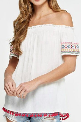 Love Stitch Embroidered Detail Off Shoulder Top