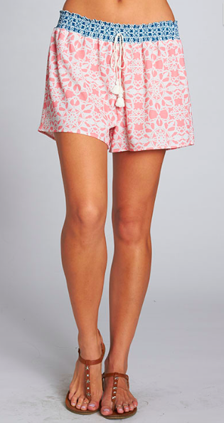 Love Stitch Coral/Teal Printed Shorts