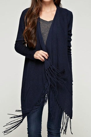 Love Stitch Waterfall Fringe Shawl Cardigan
