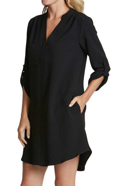 Lush 3/4 Sleeve Black Dress