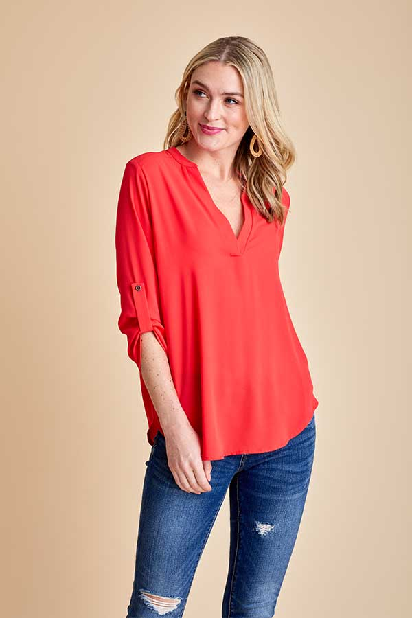 Lush 3/4 Sleeve Roll Tab Tunic Top