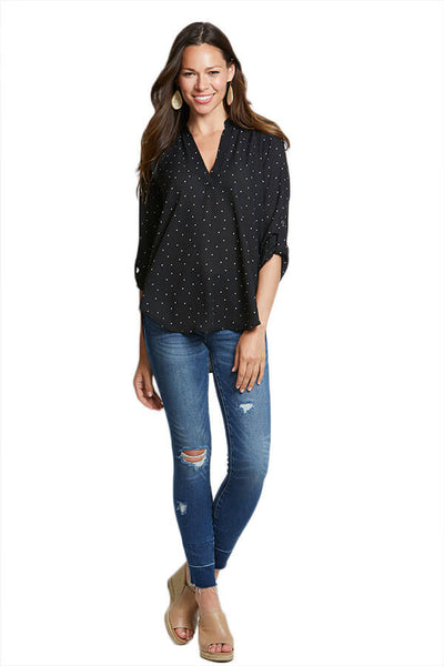 Lush Polka Dot 3/4 Sleeve Top