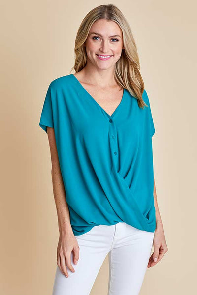 Lush S/S Button Front Cross Over Top