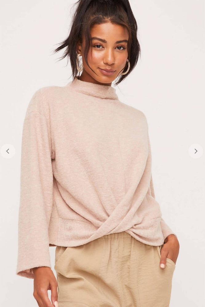 Lush Long Sleeve Twist Front Mockneck Top