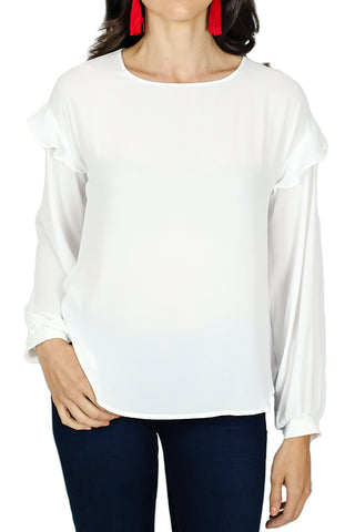 Lush Ruffle Sleeve White Blouse