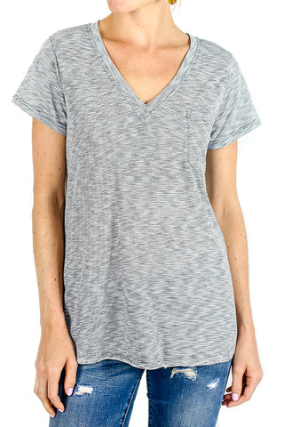 Lush Stripe Vneck Pocket Tee