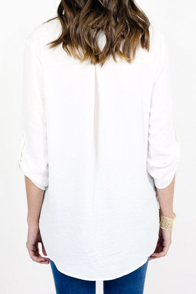 Lush Cross Over White 3/4 Sleeve Top