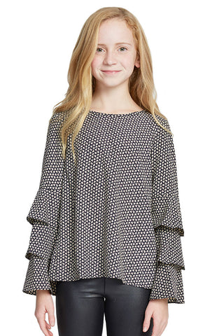 Soprano Girls Ruffle Sleeve Printed Top