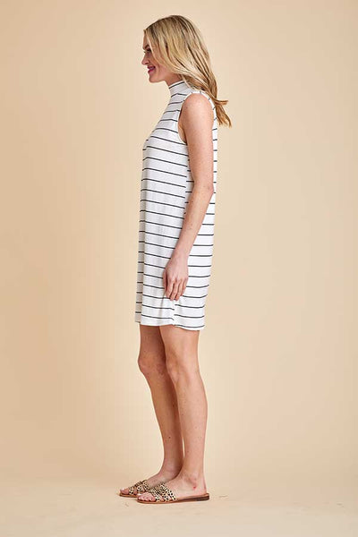 Mittoshop Sleeveless Ivory/Black Stripe Dress