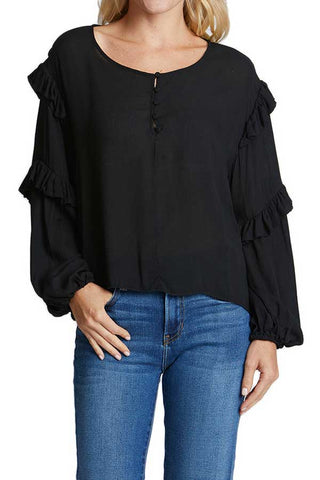 Mustard Seed Black Balloon Sleeve Top