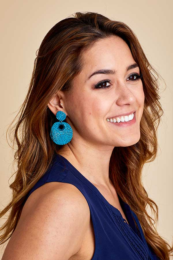 Turquoise Circle Beaded Earrings