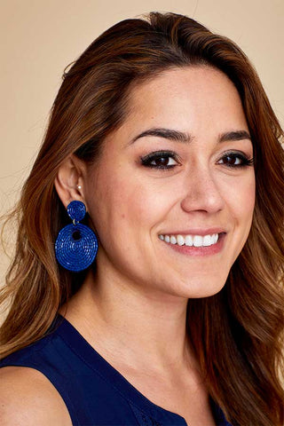 Navy Circle Beaded Earrings
