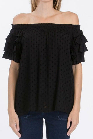 Olivaceous Off the Shoulder Swiss Dot Top