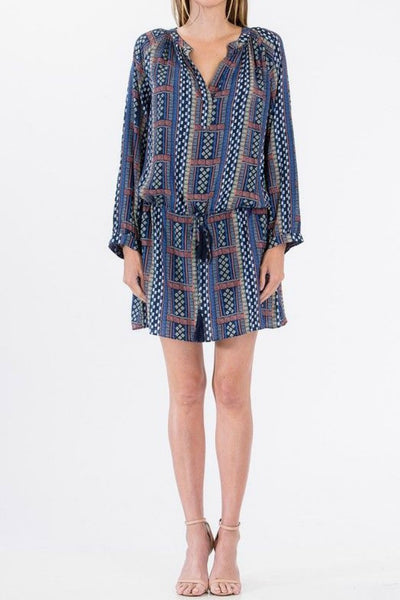 Olivaceous Tie Waist Printed Shirt Dress