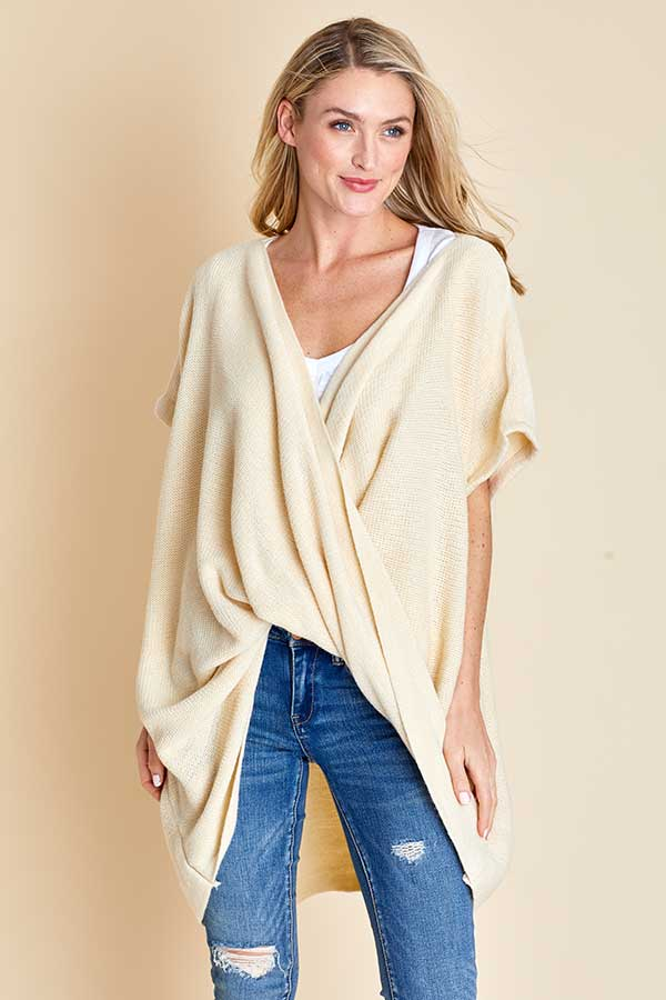 Oversized Wrap Short Sleeve Sweater